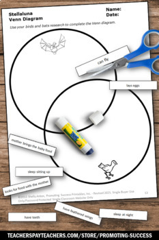 Halloween Science Activities, Bats and Birds Venn Diagram, Stellaluna Book