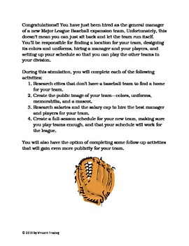 Batter Up! A Baseball Team Creation Simulation for Elementary Students