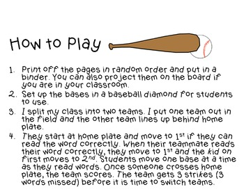 Batter Up: A baseball game for Sight Words & Long Vowel Words