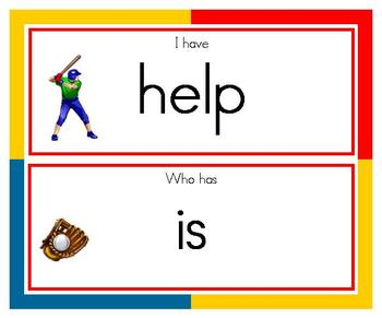 """""""Batter Up"""" I Have Who Has Dolch First Grade Words (1)"""