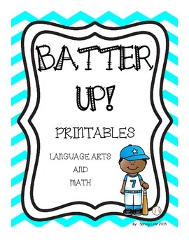 Batter Up Printables - Literacy and Math - First Grade