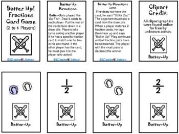 Batter Up! - fraction card game like Go Fish