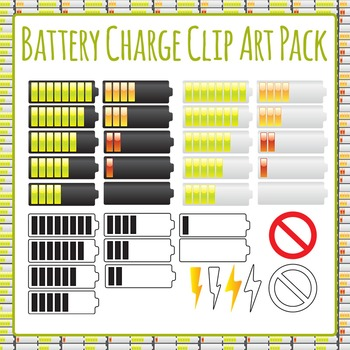 Battery Charge Clip Art Pack for Commercial Use