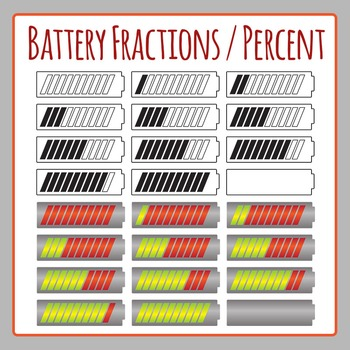 Battery Fractions / Percent Maths Clip Art for Commercial Use