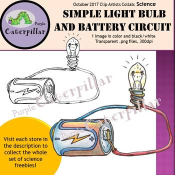 Battery and Light Bulb Circuit  #tptclipartistscollab