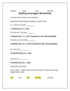 Batting Averages Worksheet