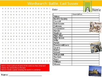 Battle East Sussex Wordsearch Puzzle Sheet Keywords History of Hastings Britain