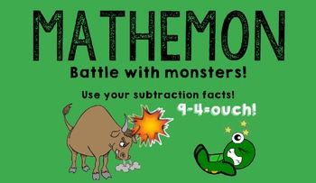 MATHEMON - Subtraction Fact Fluency Card Game (Like Pokemon)