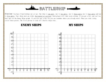 Battle Ship Graphing Game