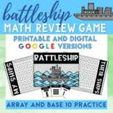 Battle Ship Place Value and Array Math Game - Digital and Printable