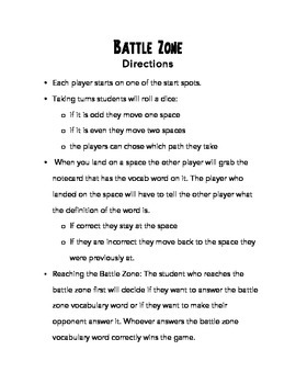 Battle Zone Vocab Review Game