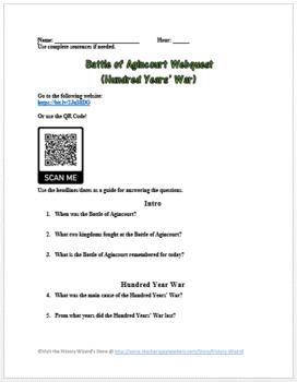 Battle of Agincourt Webquest (Hundred Years' War)