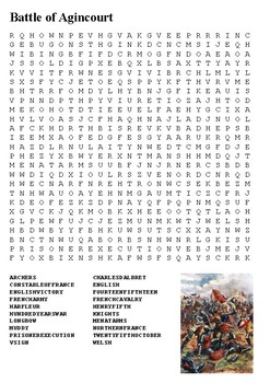 Battle of Agincourt Word Search