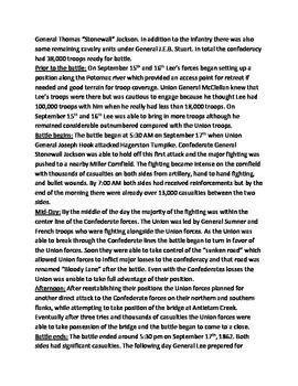 Battle of Antietam - Sharpsburg Lesson Informational article facts questions