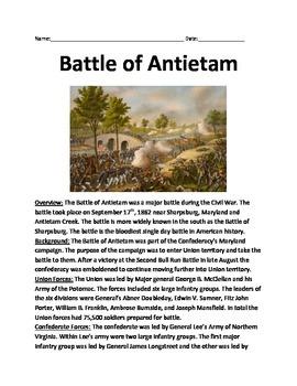 Battle of Antietam - Sharpsburg Lesson Informational artic