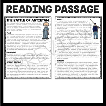 Battle of Antietam Reading Comprehension Worksheet, Civil War