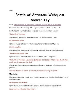 Battle of Antietam Webquest