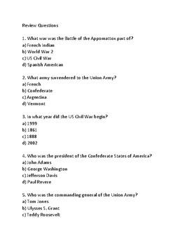 Battle of Appomattox Court House - Civil War end lesson facts info questions