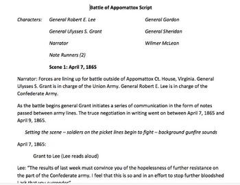 Battle of Appomattox Readers Theater Script