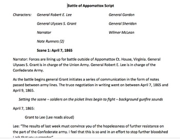 Battle of Appomattox Readers Theater Script