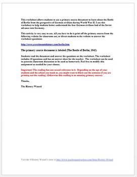 Battle of Berlin, 1945 World War II Primary Source Worksheet