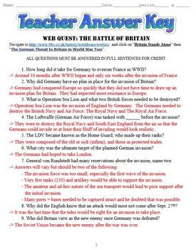 Battle of Britain: Operation Sea Lion Webquest