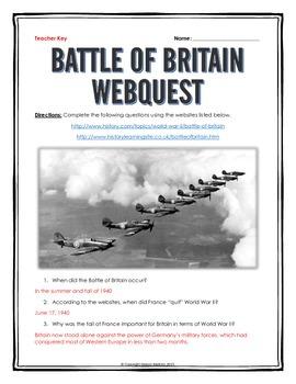 Battle of Britain - Webquest with Key (World War II)