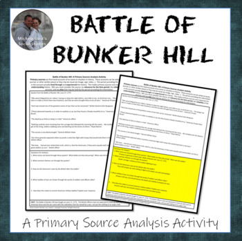 Battle of Bunker Hill American Revolution Document Analysis Activity