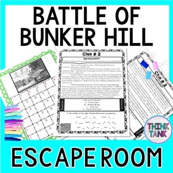 Battle of Bunker Hill ESCAPE ROOM:  Revolutionary War - Print & Go!