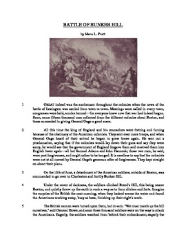 Battle of Bunker Hill - Informational Text Test Prep