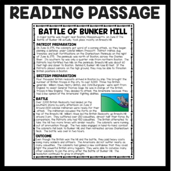 Battle of Bunker Hill Reading Comprehension; American Revolution
