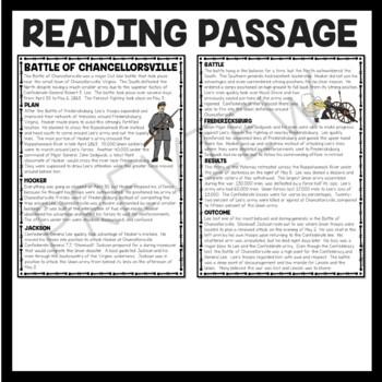 Battle of Chancellorsville Reading Comprehension Worksheet, Civil War