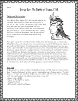 Write and Perform a Skit: The Battle of Cuzco (A Project About the Inca Empire)