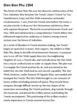 Battle of Dien Bien Phu Handout