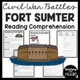 Battle of Fort Sumter Reading Comprehension Worksheet, Civil War