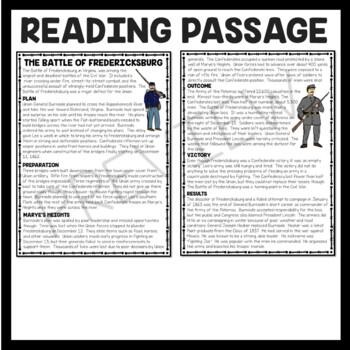 Battle of Fredericksburg Reading Comprehension Worksheet, Civil War