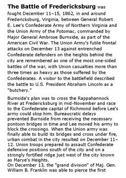 Battle of Fredericksburg Word Search