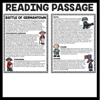 Battle of Germantown Reading Comprehension; American Revolution