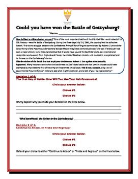 Battle of Gettysburg Handout (Link on handout)