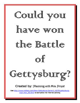 Battle of Gettysburg Handout + Game (Link on handout)
