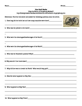 Battle of Gettysburg How Stuff Works Internet Assignment
