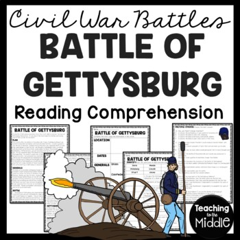 Battle of Gettysburg Reading Comprehension Worksheet, Civil War | TpT