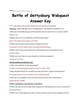 Battle of Gettysburg Webquest