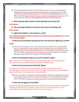 Battle of Gettysburg - Webquest with Key (American Civil War)