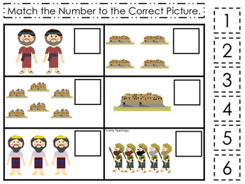 Battle of Jericho Match the Number printable game. Preschool Bible Study Curricu