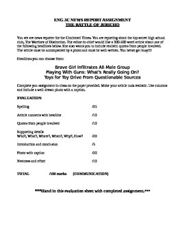 """Battle of Jericho"" News Report Assignment"