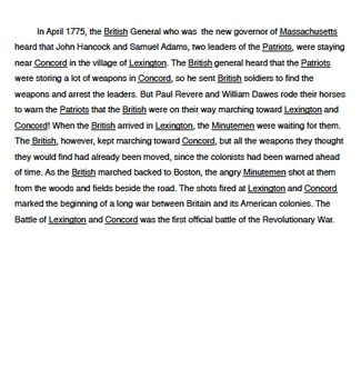 Battle of Lexington and Concord Class Action Story