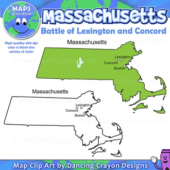 Lexington And Concord Map Battle of Lexington and Concord   Map of Massachusetts by Maps of
