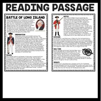 Battle of Long Island Reading Comprehension; American Revolution