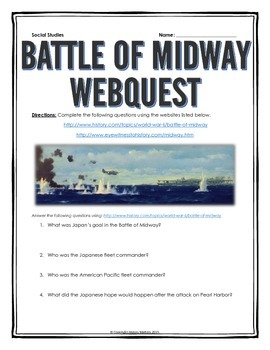 Battle of Midway - Webquest with Key (World War II)
